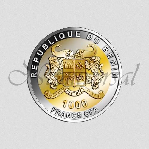 Benin-1000-Teilvergolded-Rund-Wappenseite-Numiversal