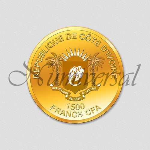 Wappenseite Elfenbeinküste 1500 Francs CFA - Gold - Rund
