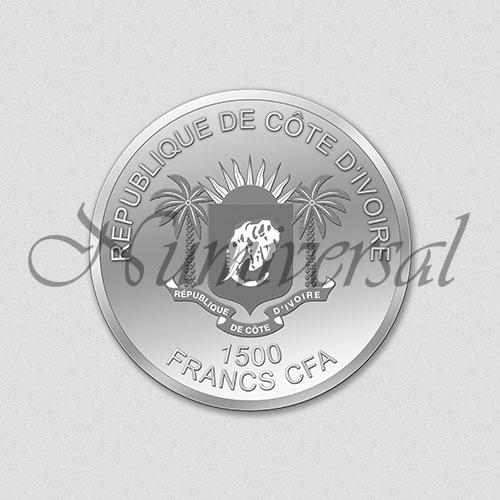 Wappenseite Elfenbeinküste 1500 Francs CFA - Silber - Rund