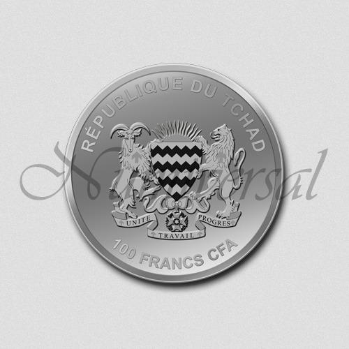 Tschad-100-Silber-Rund-Wappenseite-Numiversal