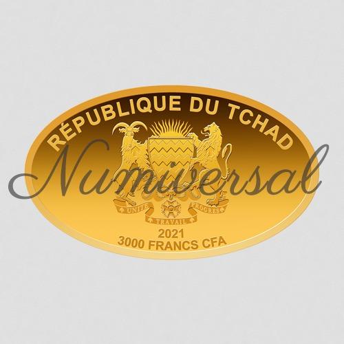 Tchad Goldmünze oval 2021