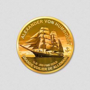 Windjammer Alexander von Humboldt Numiversal Goldmünze 2016