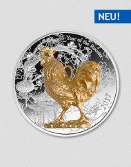 Jahr des Hahnes 2017 Silbermünze Teilvergoldet Numiversal