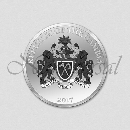 Wappenseite Gambia Silbermünze 2017 Numiversal