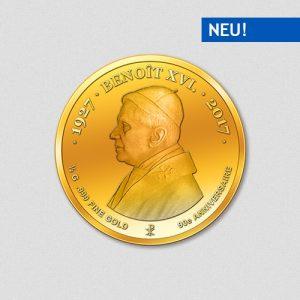 90. Geburtstag Papst Benedikt XVI Goldmünze 2017 Numiversal