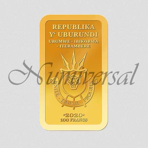 Wappenseite - Burundi - 2020 - Goldbarren - Hoch