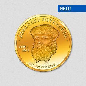 Johannes Gutenberg - Goldmünze - 2018 - Numiversal
