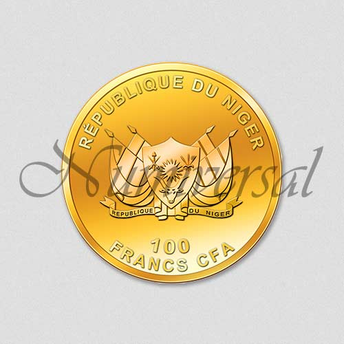 Wappenseite - Niger - Rund - Gold - 100