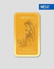 Griechische Götter - Artemis - Goldbarren - Numiversal