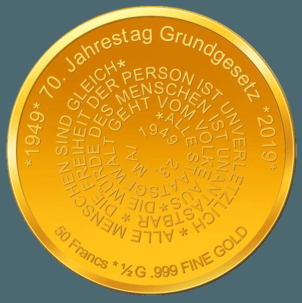 70 Jahre Grundgesetz - Numiversal - Goldmünze