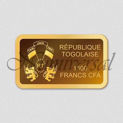 Wappenseite - Togo - Goldbarren - Quer - 1500