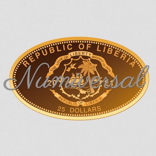 Liberia_Gold Münze 25 2021 oval